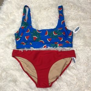 NWT Old Navy Red and Blue Watermelon Bikini Large